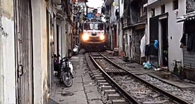 A train in your front room Hanoi Vietnam
