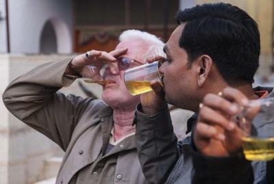 Idiots drinking urine