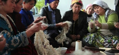 Women in Tajikistan mohair production